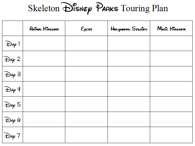 Creating a Skeleton Disney Parks Touring Plan